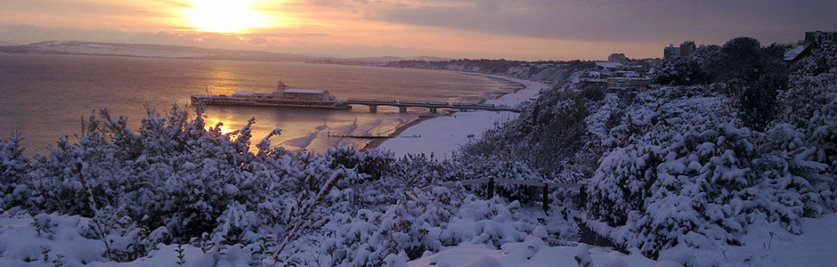 view of pier in snow