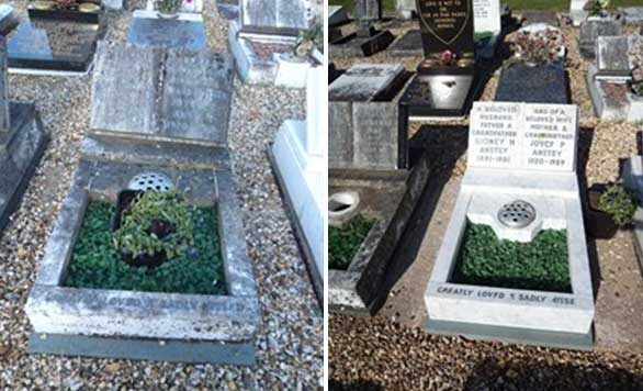 Before and After cleaning the grave