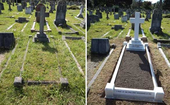 Results before and after cleaning a grave